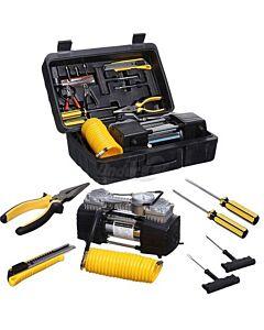 Compresor con herramientas para reparar pinchazos.